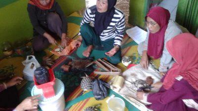 Peserta Pendidikan Pertanian Alami, mempraktekan pembuatan Nutrisi dengan bahan-bahan yang tersedia disekitar rumah dan lahan (photo by John. P Sinulingga)